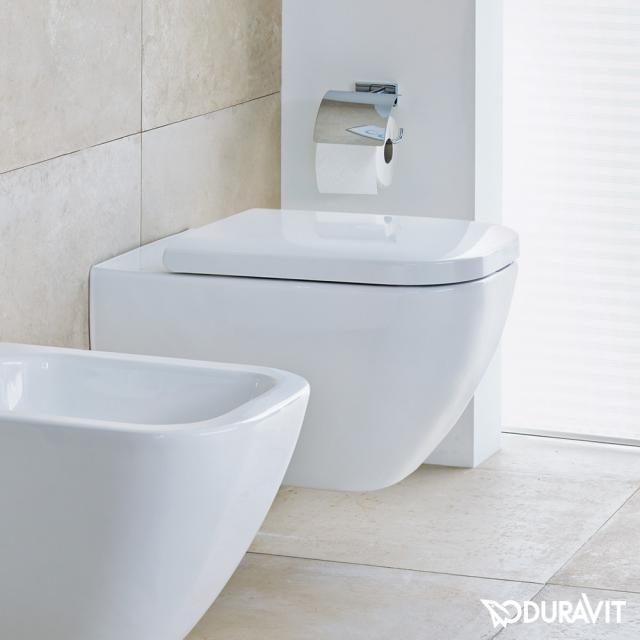 Duravit Happy D.2 wall-mounted washdown toilet rimless, white, with WonderGliss