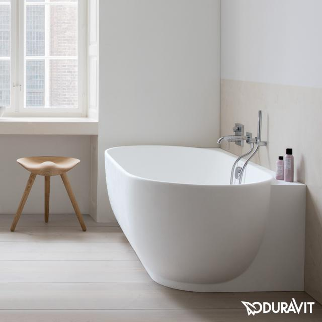 Duravit Luv corner bath with panelling without tap holes in the bath rim