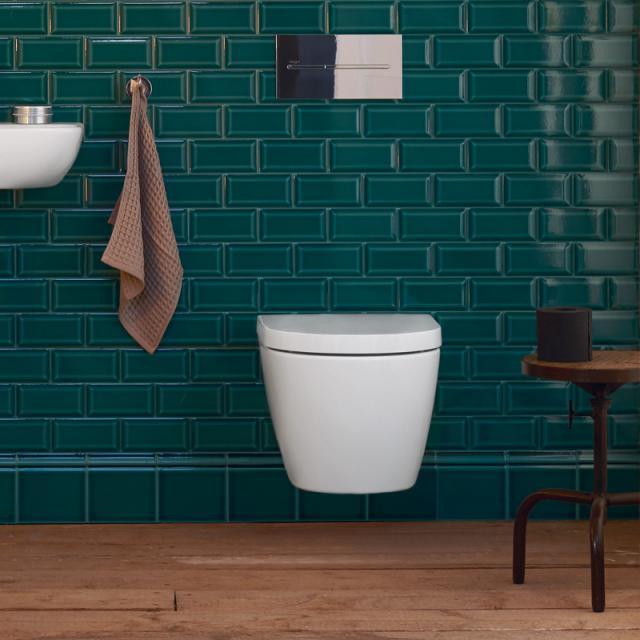 Duravit ME by Starck Compact wall-mounted washdown toilet, rimless matt white, with HygieneGlaze