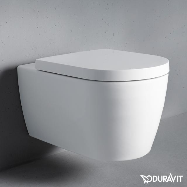Duravit ME by Starck Cuvette suspendue à fond creux, sans bride, avec abattant WC blanc
