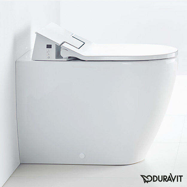 Duravit ME by Starck floorstanding washdown toilet with NEW SensoWash® Slim toilet seat, set white, with WonderGliss