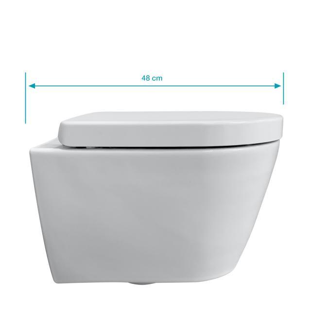 Duravit ME by Starck wall-mounted toilet & Tellkamp Premium 4000 toilet seat SET short: rimless toilet white, with WonderGliss