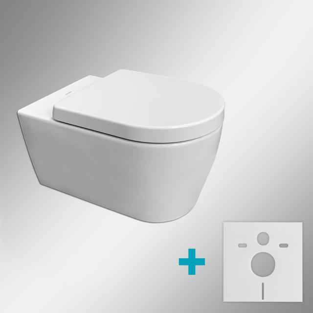 Duravit ME by Starck wall-mounted toilet & Tellkamp Premium 4000 toilet seat SET: rimless toilet, with accessories white, with WonderGliss