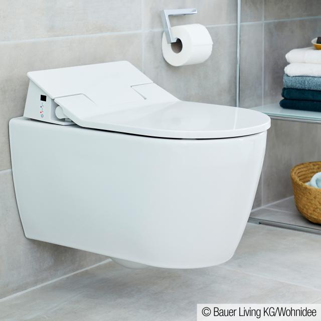 Duravit ME by Starck wall-mounted washdown toilet with NEW SensoWash® Slim toilet seat, set rimless, white, with WonderGliss