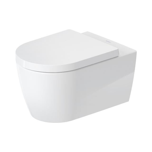 Duravit ME by Starck, wall-mounted, washdown toilet, with toilet seat, HygieneFlush, rimless white, with HygieneGlaze