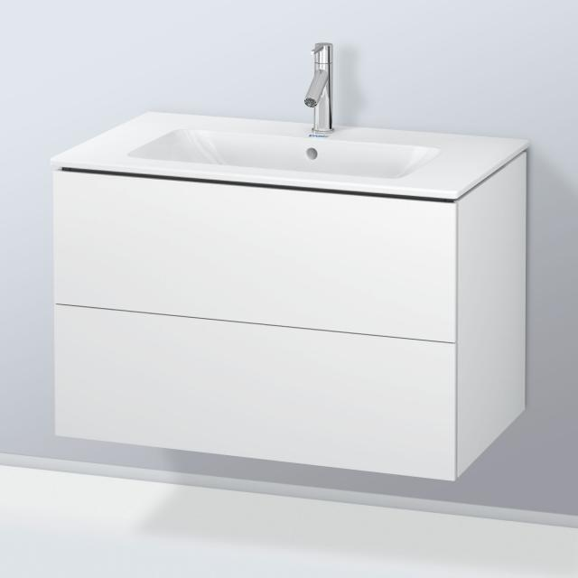 Duravit ME by Starck washbasin with L-Cube vanity unit with 2 pull-out compartments front matt white / corpus matt white, without interior system, WB white, with WonderGliss, with 1 tap hole