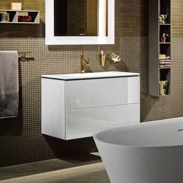 Duravit ME by Starck washbasin with L-Cube vanity unit with 2 pull-out compartments front white high gloss / corpus white high gloss, without interior system, WB white, with WonderGliss, with 1 tap hole