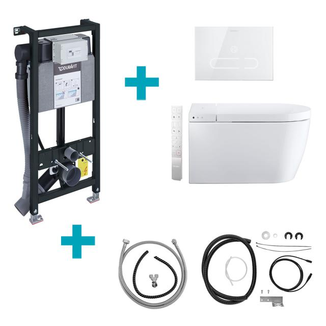 Duravit SensoWash® Starck f Plus Compact shower toilet complete system for wall mounting, with toilet seat with mounting element, flush plate & installation sets