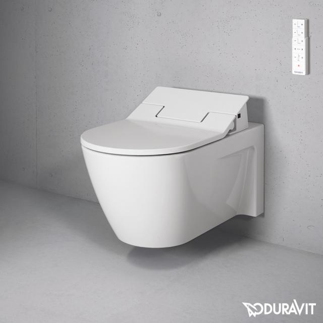 Duravit Starck 2 wall-mounted washdown toilet with NEW SensoWash® Slim toilet seat, set white