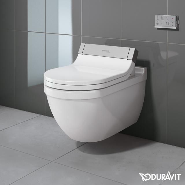Duravit Starck 3 wall-mounted washdown toilet for SensoWash®, extended version white, with WonderGliss
