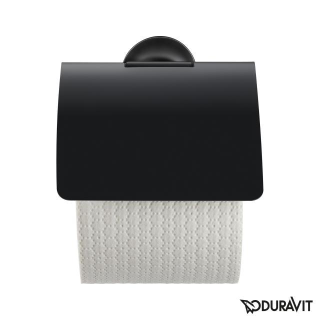 Duravit Starck T toilet roll holder with cover matt black