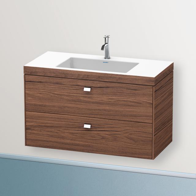 Duravit Vero Air washbasin with Brioso vanity unit with 2 pull-out compartments front dark walnut / corpus dark walnut, handle chrome