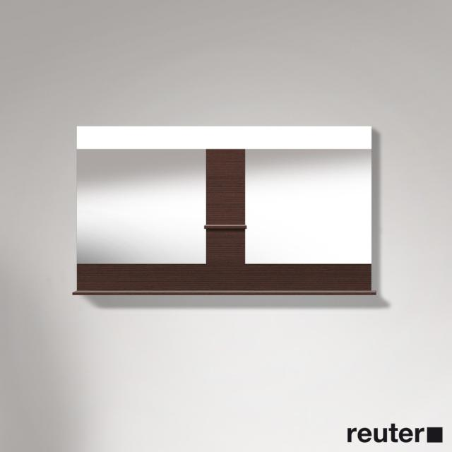 Duravit Vero mirror with LED lighting, shelf at the bottom & in the middle dark chestnut