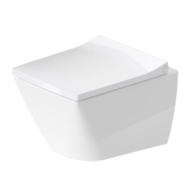 Duravit Viu wall-mounted washdown toilet with toilet seat Compact, rimless white, with WonderGliss