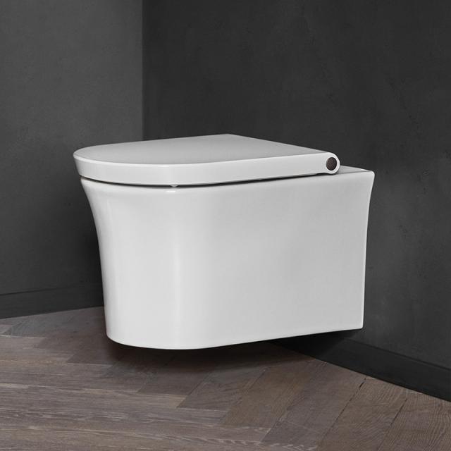 Duravit White Tulip wall-mounted, washdown toilet, HygieneFlush, rimless with toilet seat