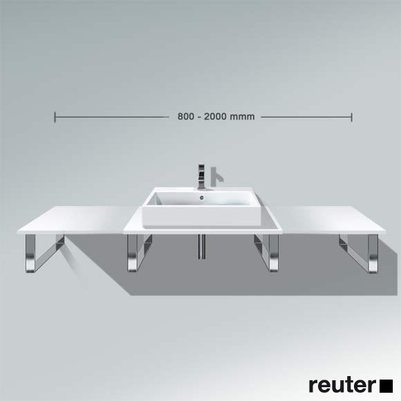 Duravit X-Large console back-to-wall version for countertop/drop-in basin matt white