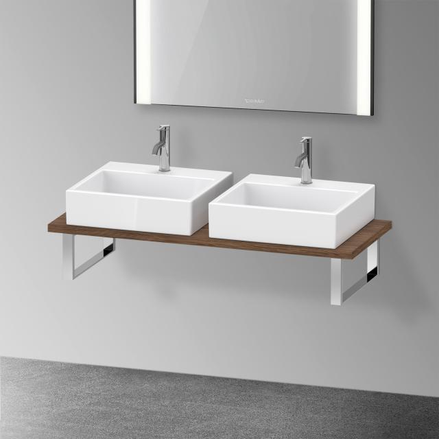Duravit XViu console for 2 countertop basins / drop-in basins dark walnut