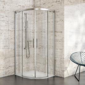 Duscholux Bella Vita 3 Round 2 quadrant sliding doors with fixed panels TSG clear/matt silver