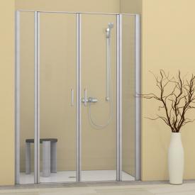 Duscholux Bella Vita 3 swing doors with fixed panels for recess, 4 piece TSG clear/matt silver