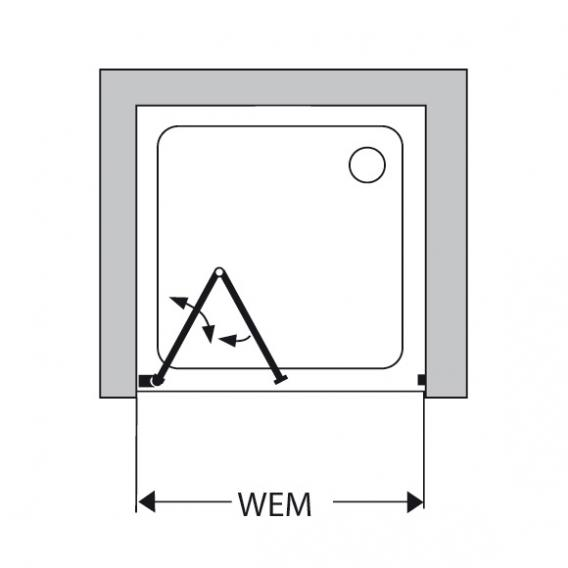 Duscholux Bella Vita 3 bi-fold door in recess TSG clear/silver matt