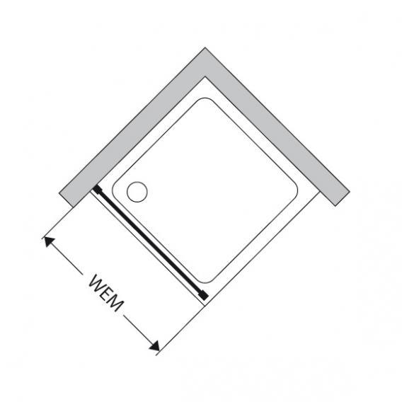 Duscholux Bella Vita 3 side panel TSG clear with CareTec/matt silver
