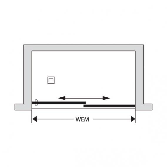 Duscholux Bella Vita 3 sliding door 2-piece, in recess TSG clear with CareTec/silver matt