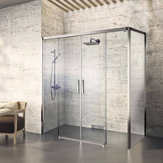 Duscholux Bella Vita 3 sliding with fixed panels for side panel, 4 piece TSG clear/matt silver