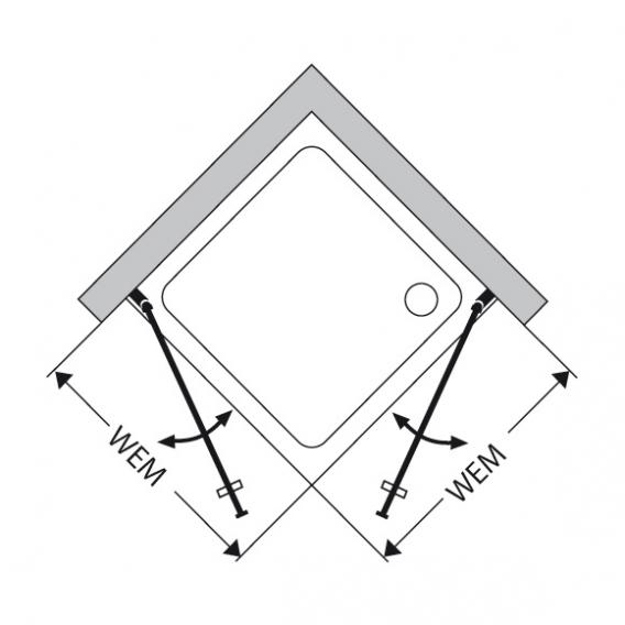 Duscholux Bella Vita 3 swing door for corner entry TSG clear/matt silver