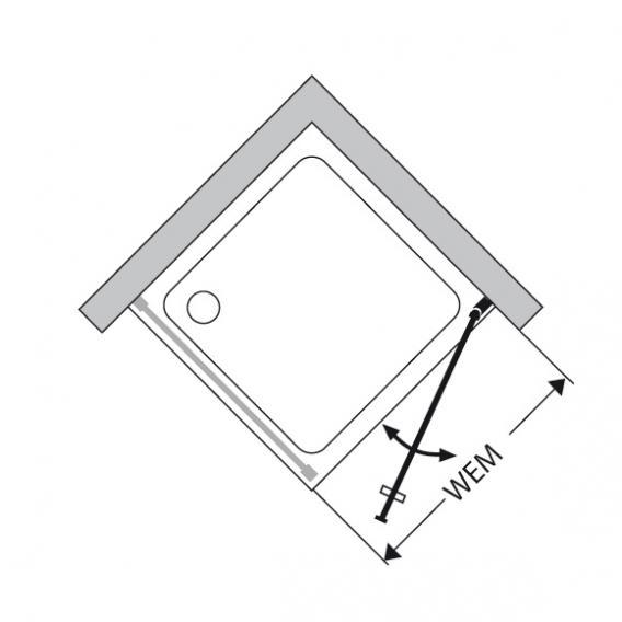 Duscholux Bella Vita 3 swing door for side panel TSG clear with CareTec/matt silver