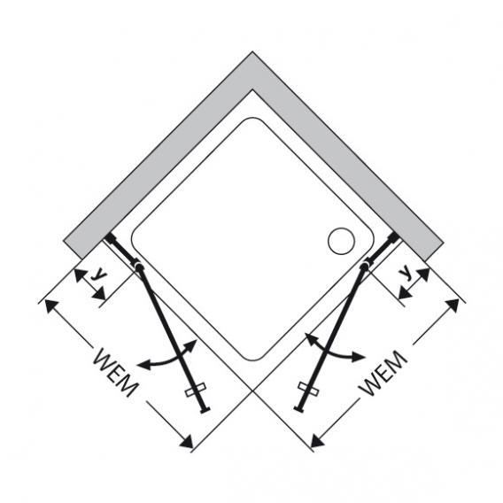 Duscholux Bella Vita 3 swing recess door with fixed panel TSG clear/matt silver