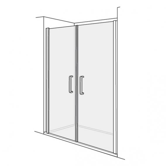 Duscholux Bella Vita 3 swing doors in recess 2 piece TSG clear/matt silver