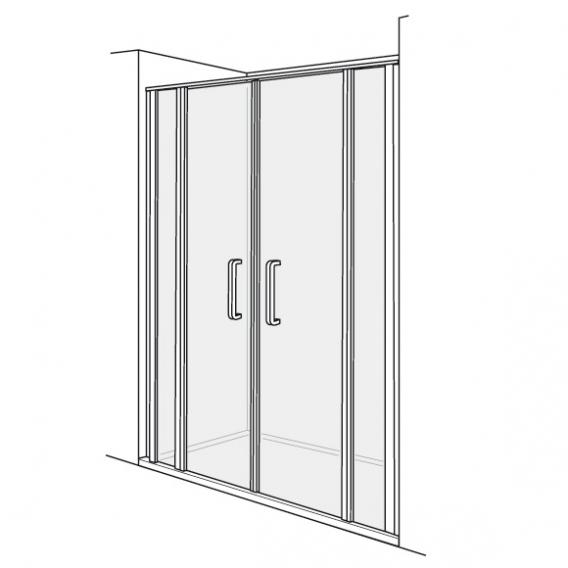 Duscholux Bella Vita 3 swing doors with fixed panels for recess, 4 piece TSG clear/matt silver