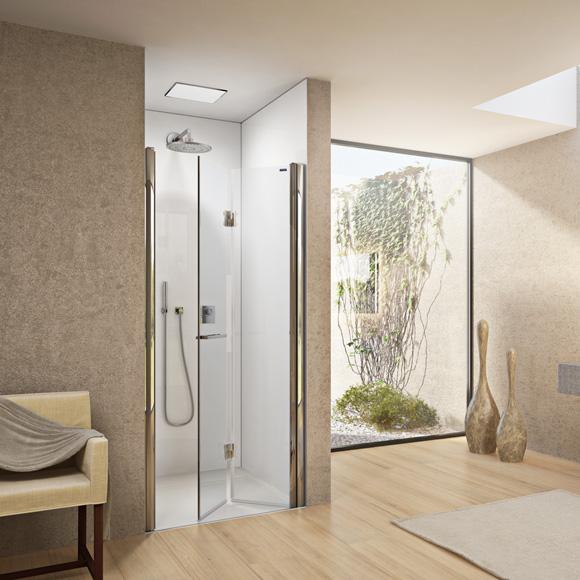 Duscholux Bella Vita 3 bi-fold door in recess TSG clear with CareTec/matt silver