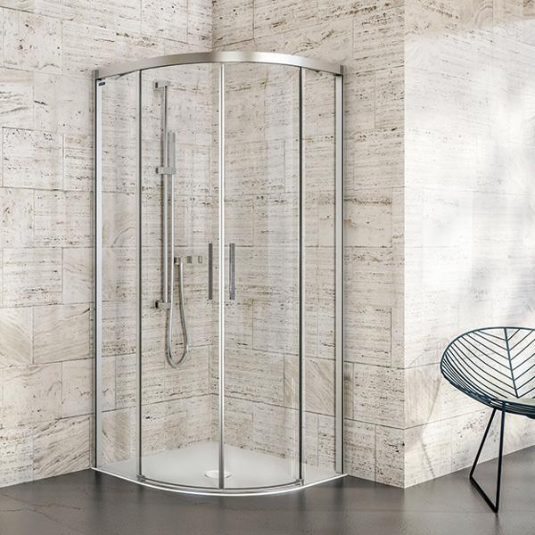Duscholux Bella Vita 3 Round 2 quadrant sliding doors with fixed panels TSG clear with CareTec/matt silver