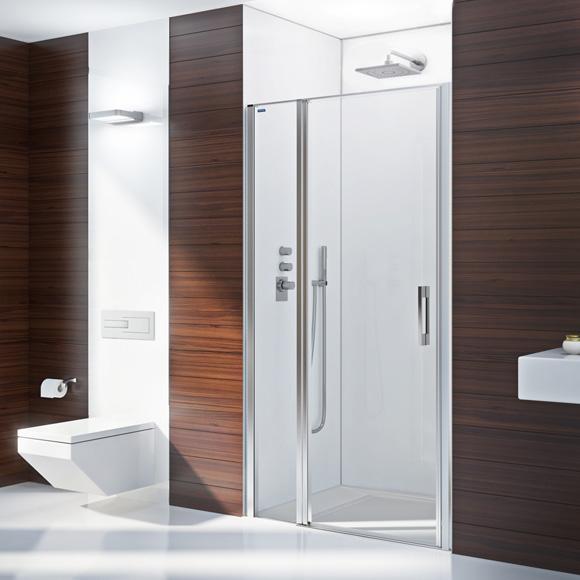 Duscholux Bella Vita 3 swing door with fixed panel in recess TSG clear with CareTec/matt silver