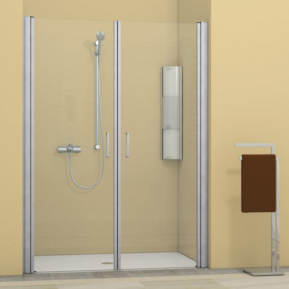 Duscholux Bella Vita 3 swing doors in recess 2 piece TSG clear with CareTec/matt silver
