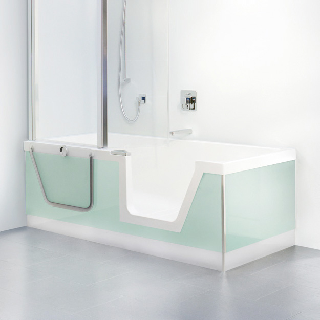 Duscholux Step-In Pure rectangular bath with shower zone, built-in