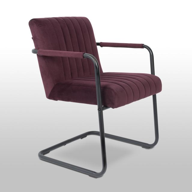 Dutchbone Stitched cantilever chair with armrests