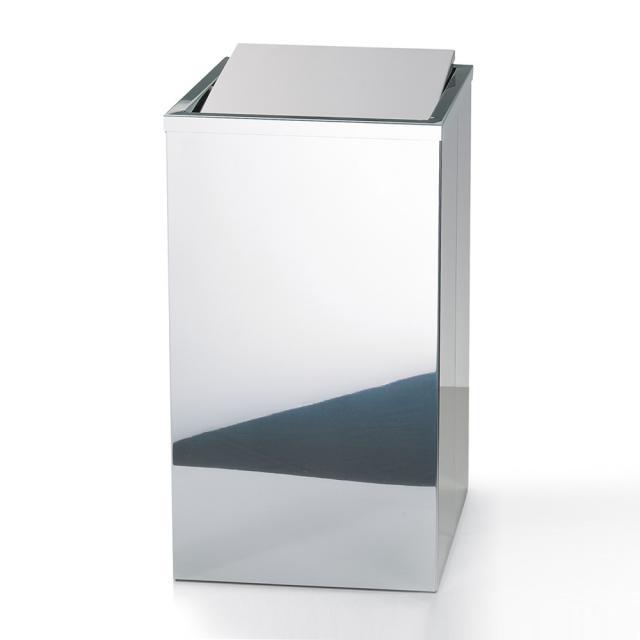 Decor Walther laundry basket with swing lid polished stainless steel