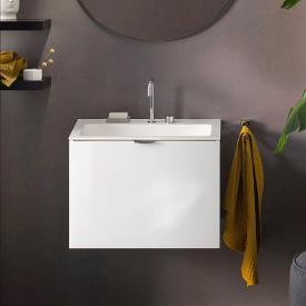 Emco Asis washbasin with vanity unit with 1 pull-out compartment front optiwhite / corpus white high gloss, with 2 tap holes