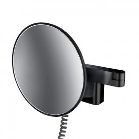 Emco Evo LED shaving and beauty mirror with spiral cable, plug and emco light system black