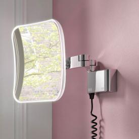Emco Evo Miroir cosmétique LED, avec câble en spirale et prise chrome