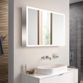 Emco Prime mounted LED illuminated mirror cabinet with lighting package 2 doors aluminium/mirrored
