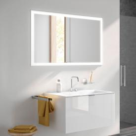 Emco Prime recessed LED illuminated mirror cabinet with lighting package, 2 doors aluminium/mirrored