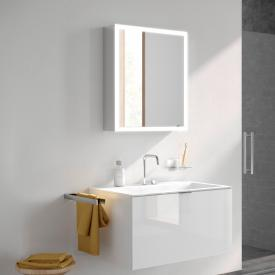 Emco Prime wall-mounted LED illuminated mirror cabinet with lighting package aluminium/mirrored