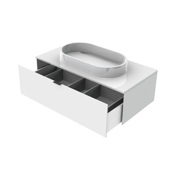 Emco Asis washbasin with drawer front optiwhite / corpus optiwhite / WB white