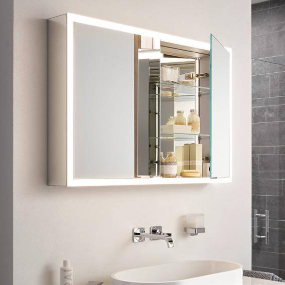 Emco Prime mounted LED illuminated mirror cabinet, 2 doors aluminium/mirrored