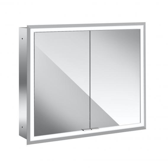 Emco Prime recessed LED illuminated mirror cabinet, 2 doors aluminium/mirrored
