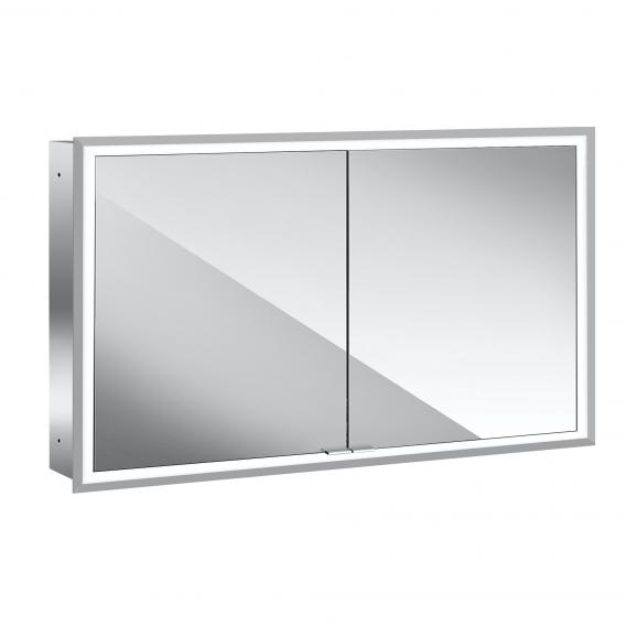 Emco Prime recessed LED illuminated mirror cabinet with lighting package 2 doors aluminium/mirrored