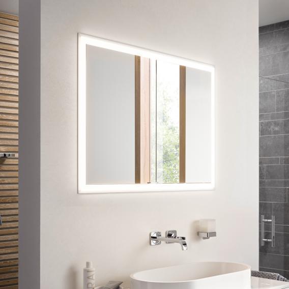 Emco Prime recessed LED illuminated mirror cabinet with lighting package 2 doors aluminium/mirrored